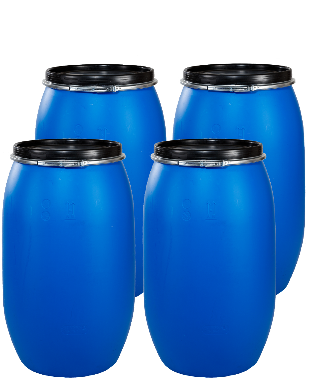 30 Litre Full Open Top Plastic Drum - Pack of 4